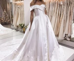 wedding dress, bridal dress, and satin wedding dress image