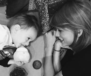 Taylor Swift, baby, and black and white image