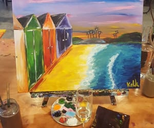 painting, summer, and swimming image