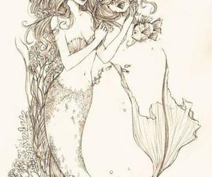 drawing, mermaid, and sirenas image