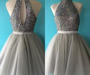 short homecoming dress, gray tulle prom dress, and beaded prom dress short image