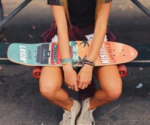 girl, longboard, and style image