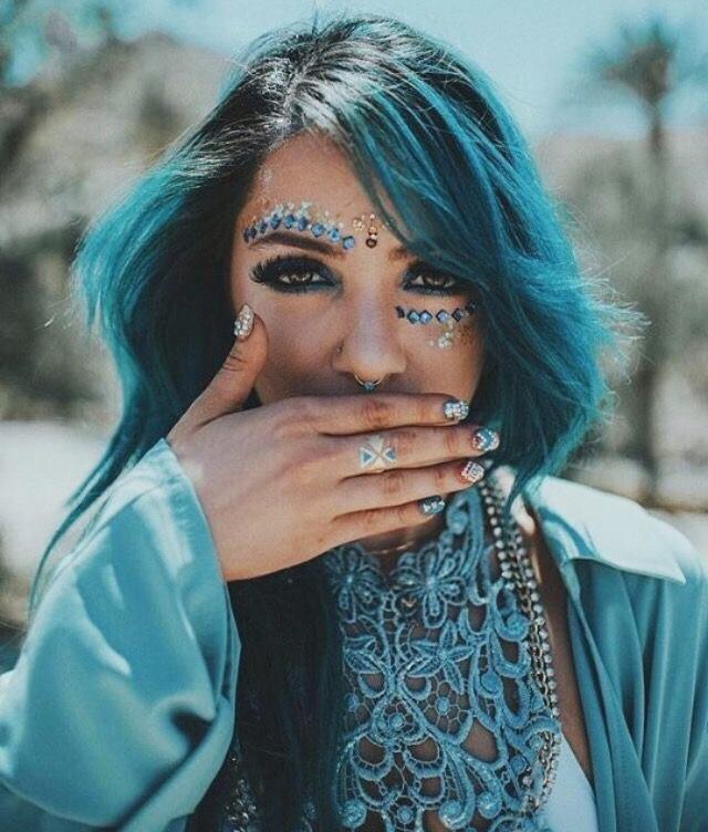 coachella, blue, and makeup image
