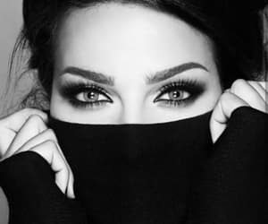 eyes, black and white, and girl image