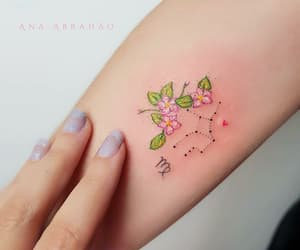 tattoo, flower, and virgo image