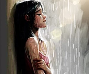 sad, rain, and alone image