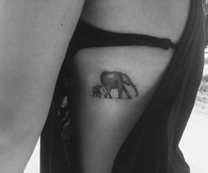 bw, elephant, and girl image