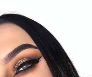 black hair, brunette, and green eyes image