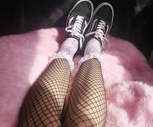 fishnets, pink, and vans image