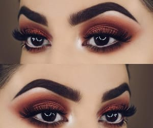 brown eyes, make up, and brown shadow image