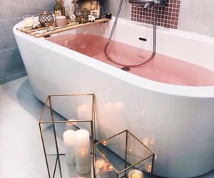 bath, bathroom, and pink image