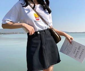 asian fashion, asian girl, and beach image