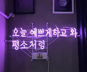 neon sign, purple, and text image
