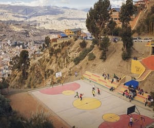 Basketball, hill, and beautiful view image