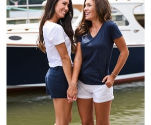 brunette, navy, and preppy image