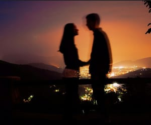 couple, sunset, and nature image