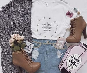 bag, outfit, and sweater image