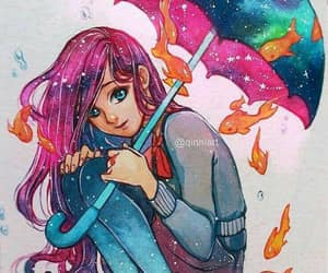 qinni art and redhead trippy umbrella image