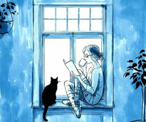 book, blue, and reading image