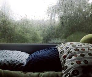 rain, pillow, and window image