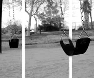 swing, black and white, and gif image