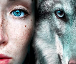 eyes, girl, and wolf image