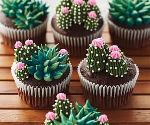 cactus, cupcakes, and green image