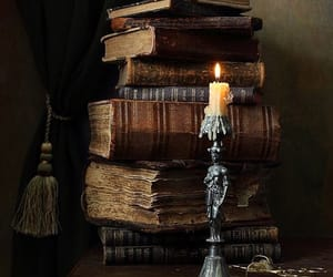 books, vintage, and candle image