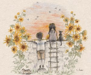 girl, sunflower, and art image