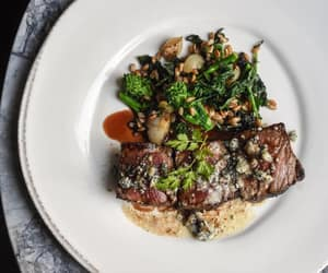 red wine, steak, and brown butter image