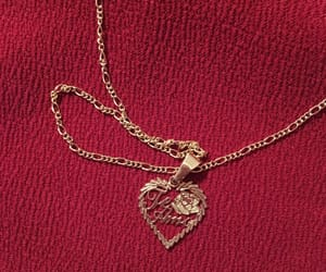 necklace, heart, and red image