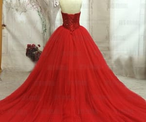 red wedding dress, red celebrity dress, and red bridal dress image