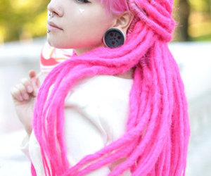 pink, hair, and dreads image