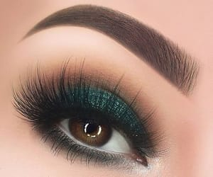 lashes, make up, and green shadow image