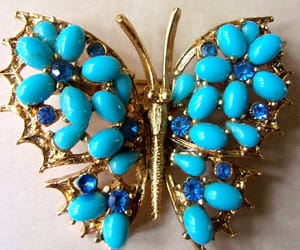 blue, turquoise, and vintage brooch pin image