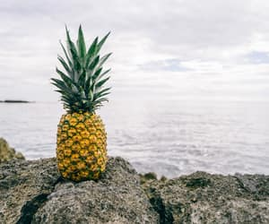 beach, fruit, and pineapple image