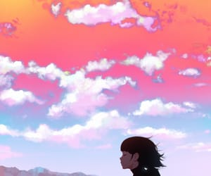 anime girl, clouds, and orange image