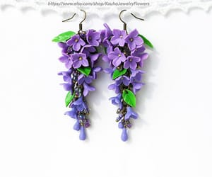 etsy, lilac flowers, and wedding earrings image