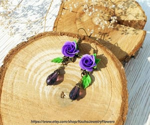 purple roses, summer earrings, and bridesmaid gift image