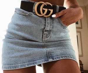 belt, denim, and skirt image