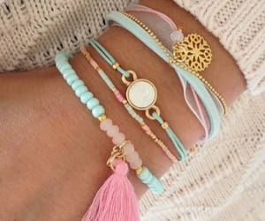 blue, bracelet, and pink image