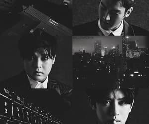 aesthetic, black and white, and shindong image