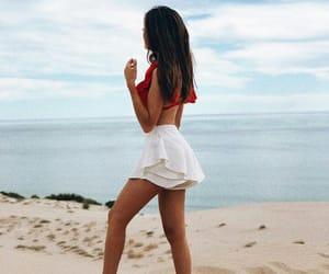beach, bikini, and brunette image