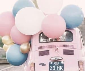 balloons, car, and pink image