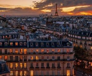 city, night view, and paris image