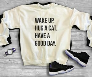 cat, quote, and wake up image