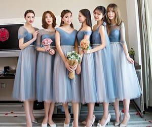 girls, bridesmaid dress, and sky blue dress image