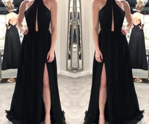 long black prom dress, prom dress with slit, and chiffon long prom dress image