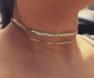choker, gold, and necklace image