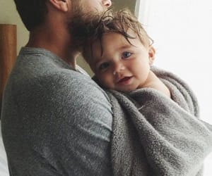 baby, dad, and family image